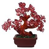 Feng Shui - Árbol de cristal de cuarzo rosa para dinero, estilo bonsai, decoración para la riqueza y la suerte V1051