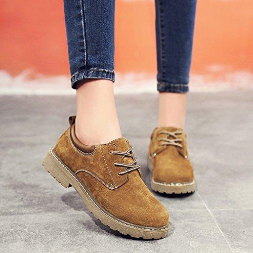 HWF Chaussures femme Printemps britannique style unique femmes chaussures plates chaussures de sport College Martin chaussures en cuir femelle ( Couleur : Gris , taille : 37 ) Caramel Colour