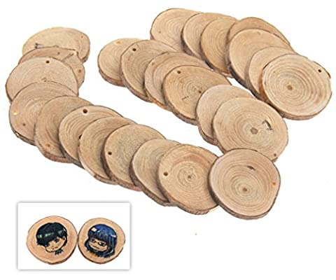 24 X Natural Wood Round Discs Slices With Hole for DIY Craft Hobbies Pyrography