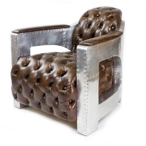 Phoenixarts Sessel Chesterfield Ledersessel Vintage Design Ohrensessel Leder Lounge ClubSessel...