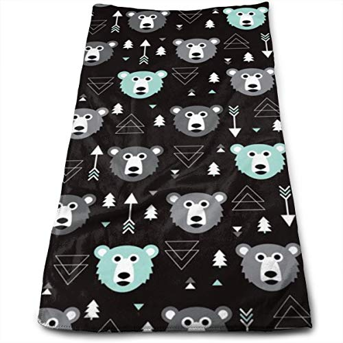 Kaixin J Geometric Grizzly Bear Woodland Illustration Pattern_8855 Microfiber Bath Towels,Soft, Super Absorbent and Fast Drying, Antibacterial, Use for Sports, Travel, Fitness, Yoga 12 * 27.5 Inch -