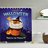 Scary Halloween Vorhang für die Dusche, Polyester Wasserdicht Duschvorhang 12Haken enthalten, Badezimmer Zubehör, 72x 72