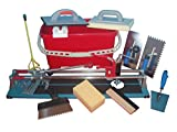3in1 Fliesenschneider 600 mm mit Lochbohrer und Fliesenwaschset + Fliesenlegerwerkzeuge