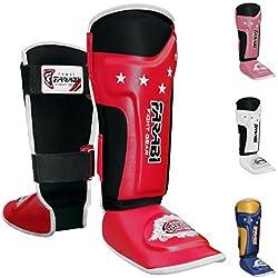 Farabi Fight Gear T-TECH Kids boxeo espinilleras Junior Shin Pad Shin empeine Velcro Shin Pad MMA espinilleras, Crossfit Muay Thai espinilleras para artes marciales Shin pantalla–Espinilleras con protección de correas para la formación y entrenamiento, rojo y negro