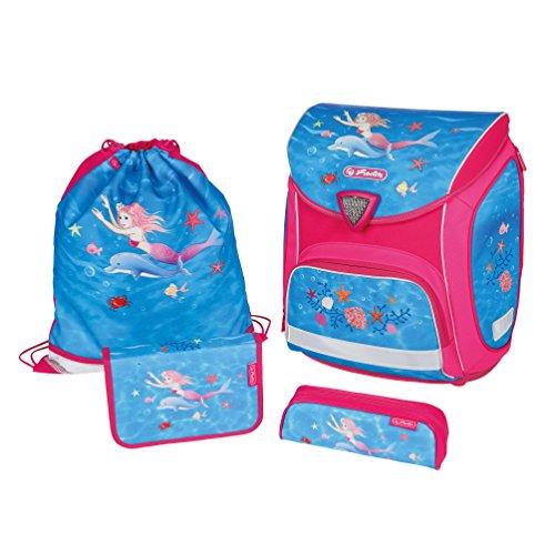 Herlitz Sporti Plus Mermaidia - school bag sets (Pencil case, Pencil pouch, School bag, Sport bag, Girl, Middle school, Backpack, Front pocket, Side pocket, Blue, Pink)