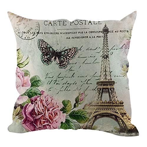 Deloito Modern Style Zierkissenbezüge Eiffelturm Muster Leinen Kissenbezug Home Schlafzimmer Dekor 45x45cm (D,45x45cm) -