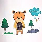 Moderne Cartoon Tiger Wanduhr Wandaufkleber PVC Einfache Kunst Dreidimensionale Dekoration Kinder Wohnzimmer Schlafzimmer Stumme Bunte 56 * 50 cm