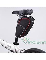 Bolsa maleta para sillín de bicicleta Roswheel impermeable negro con borde rojo