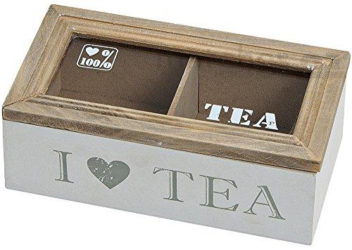 Teebeutelbox mit 2 Fächern weiss und naturfarben