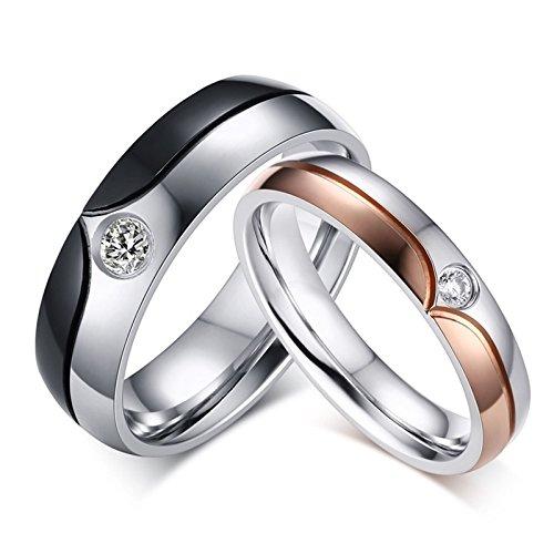 Beydodo anelli san valentino lui e lei anello bicolore anello zirconi bianco anelli acciaio inossidabile coppia donna misura 15 & uomo misura 22