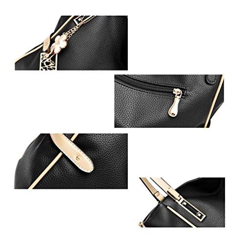 Auspicious beginning Borsetta semplice da tasca di grande capacità per le signore con il pendente del fiore nero
