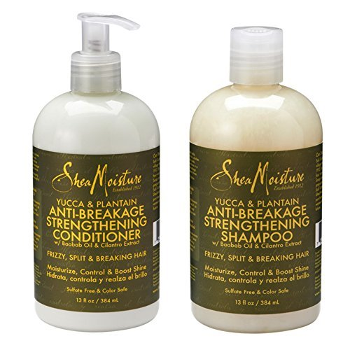 Maven Gifts: Shea Moisture Yucca & Plantain Haircare 2-Pack - 13 Oz. Anti-Breakage Strengthening Shampoo with 13 Oz. Anti-Breakage Strengthening Conditioner - Moisturize, Volumize, and Boost Shine