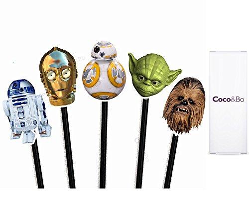 Preisvergleich Produktbild 10x Coco & Bo–Star Wars Helden Cupcake Topper–BB8R2D2C3PO Yoda und Chewbacca Thema Party Dekorationen & Cake Zubehör