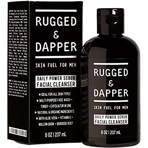 RUGGED & DAPPER Daily Power Scrub Facial Cleanser For Men - 237 ml - Face Wash + Energizing Toner + Exfoliating Scrub All-In-One - Natural & Certified Organic Ingredients