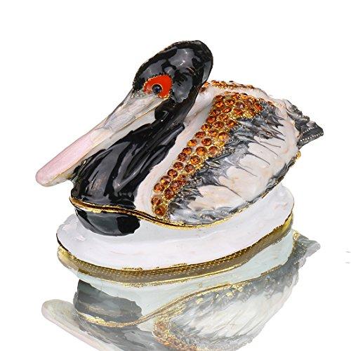 H & D Duck Schmuckkästchen Ostern Day Gifts für Sie für Ihn Geburtstag Geschenke für Frauen feine Zinn Boxen Edelsteinbesetztes Kleine Box mit Kristall Decor Jewelry Holder Organizer Schmuckkästchen S (Ihn Geschenke Für Zinn)