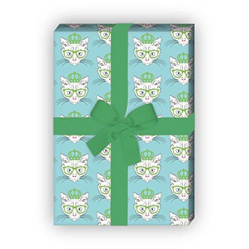 Cooles Katzen Geschenkpapier mit Hippster Krone und Brille für tolle Geschenk Verpackung und Überraschungen (4 Bögen, 32 x 48cm) Dekorpapier, Papier zum Einpacken