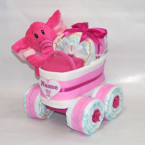 Pañales Pañales para tartas-Cochecito XL de neumáticos elefante color rosa