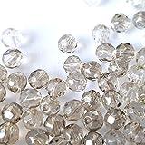 200pièces 4mm facettes cristal Perles de verre-Gris-A3415