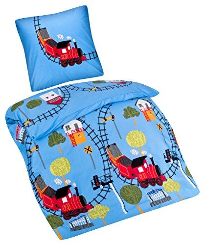 Aminata Kids - Kinder-Bettwäsche-Set 135-x-200 cm Zug-Motiv Eisenbahn Züge 100-% Baumwolle hell-blau-e rot-e