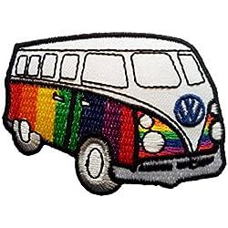 Parches - VW autobús Hippie - colorido - 5,3x7,1cm - termoadhesivos bordados aplique para ropa