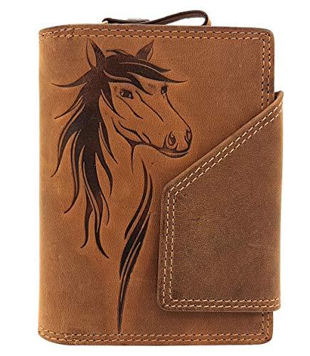 Club Zubehör (echt Leder Damen Geldbörse mit Außenriegel Jockey Club Pferd naturbelassenes Büffelleder Cognac braun mit RFID Schutz)