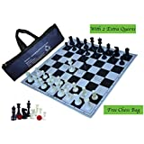 "Paramount 17""x 17"" Professional Vinyl Chess Set (Fide Standards)- with 2 Extra Queens/Chess Bag, Black"
