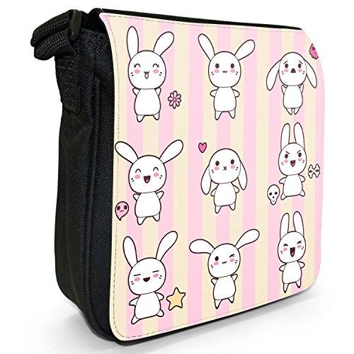 Funny & motivo coniglietti Kawaii Pink-Borsa a tracolla in tela, piccola, colore: nero, taglia: S Nero (Collection Of Kawaii Rabbits)