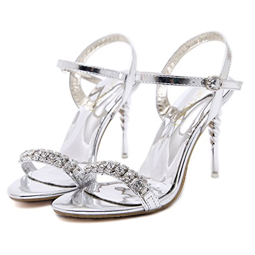 Strass scarpe da 10cm sandali degli alti talloni Fashion Night Club silvery