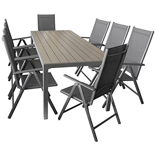 Wohaga Sitzgarnitur Sitzgruppe Gartengarnitur Gartenmöbel Terrassenmöbel Set 9-teilig - Gartentisch, Aluminium, Polywood-Tischplatte, 205x90cm + 8X Hochlehner, klappbar, 2x2 Textilen