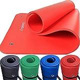 ScSPORTS Gymnastik-/Yoga-Matte, dick und rutschfest, mit Ösen und Schultergurt, 185 cm x 80 cm x 1,5 cm, universeller Einsatz im Fitnessstudio oder zu Hause, schwarz