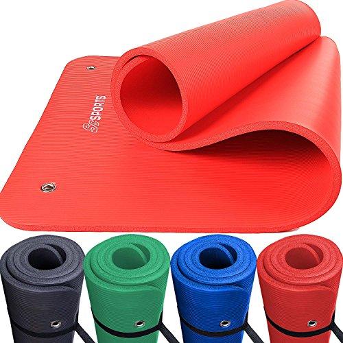 ScSPORTS Gymnastik-/Yoga-Matte, mit Schultergurt, extra groß und dick, 185 cm x 80 cm x 1,5 cm, rot