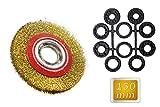 Vetrineinrete® Spazzola circolare per mola smerigliatrice da banco Ø 150 mm disco in acciaio per lavori di sbavatura satinatura e lucidatura A28