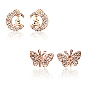 YELLOW CHIMES Combo of Beauties of Nature Rose Gold Plated Cubic Zircon Studs Earrings for Women & Girls