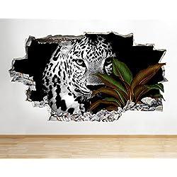 tekkdesigns G028leopardo selva planta Animal Smashed adhesivo pared 3d arte pegatinas vinilo habitación