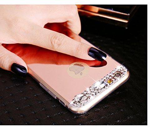 Custodia iPhone 7,Custodia iPhone 7,Custodia Cover per iPhone 7, ikasus® Placcatura Lucido di cristallo di scintillio strass Diamante Glitter placcatura caso con specchio Strass iPhone 7 Custodia Cove Oro rosa