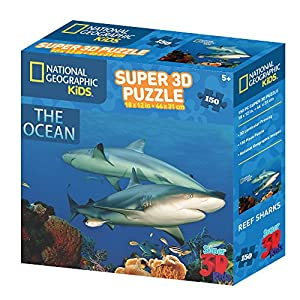 National Geographic ng10800 Kids Super 3D Puzzle de la Ocean Reef Sharks (150)