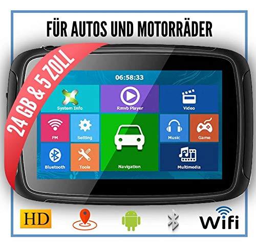 Elebest Rider A5 Navigationsgerät Motorrad - inkl. Halterung und Ladekabel, 5 Zoll Display Touchscreen Wasserdicht, 24 GB Speicher mit SD Karte, Radarwarner, Bluetooth, WiFi