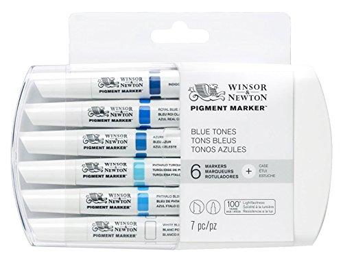 Winsor & Newton - Pennarello con doppia punta, con punta fine e piatta 6 Blue