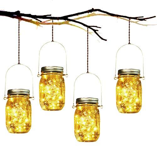 SUNNOW Solar Mason Jar Lights - Crear un ambiente romántico, alegrar su jardín con este hermoso conjunto de 4 linternas de tarro de vidrio solar resistentes a la intemperie!  Aviso cálido Si recibe las luces de la tapa y encuentra que no es brillan...