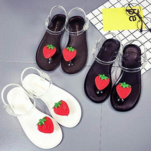 Transer® Damen Erdbeeren Obst Toepost Niedlich Sandalen Flach Draußen Drinnen Sandalen (Bitte achten Sie auf die Größentabelle. Bitte eine Nummer größer bestellen. Vielen Dank!) Schwarz
