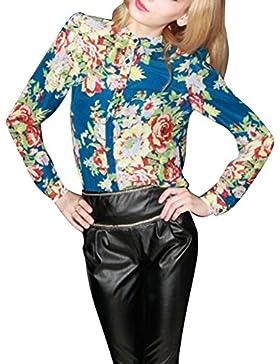 Gladiolus Patrón De Leopardo Blusa Casual Manga Larga Camisas Botón Tapas Para Mujer Leopardo L