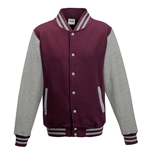Just Hoods - Unisex College Jacke 'Varsity Jacket' Burgundy/Heather Grey