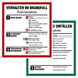 Hochwertiges Schild Verhalten im Brandfall und Verhalten bei Unfällen Set, 2X 18x20cm, UV-Schitz, PVC-Aufkleber, ISO 7010, Betriebsaushang Notfallplan