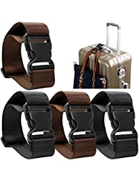 AFUNTA 4 Pack Añadir una Bolsa Correa de Equipaje, Adjustable Travel Suitcase Belt Attachment Accesorios para conectar Sus Tres Equipaje Juntos - Negro/Marrón