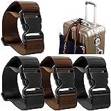 AFUNTA 4 confezioni Aggiungi un Sacchetto Cinghia per Bagagli, Regolabile Cintura di Valigia Accessori di Attacco Viaggio per collegare il bagaglio insieme - Nero/Marrone