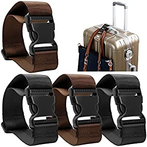 51aWU7wq AL. SS300  - 4 pack Add a Bag Luggage Strap, AFUNTA Adjustable Travel Suitcase Belt Attachment Accessories for Connect Your Three Luggage Together
