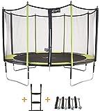 Kangui Trampoline de jardin 426 cm + filet de sécurité + échelle + kit d'ancrage JUMPI POP 430