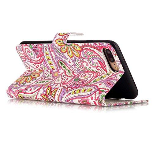 "Apple iPhone 7 Plus / 8 Plus 5.5"" Hülle, SATURCASE Bas-relief Schönes Muster PU Lederhülle Ledertasche Magnetverschluss Flip Cover Brieftasche Case Handy Tasche Schutzhülle Handyhülle Hülle mit Standf Muster-3"