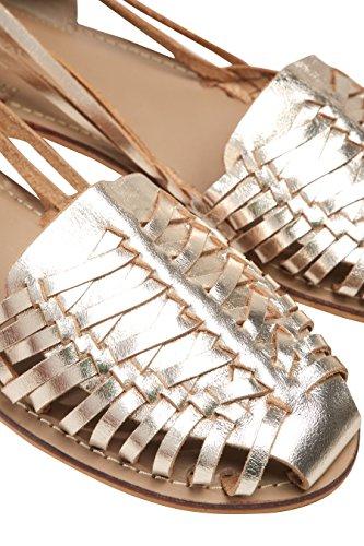 next Femme Chaussures Plates Tissées en Deux Parties Doré