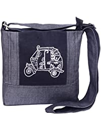 Literacy India Indha Denim Sling Bag Auto Rickshaw Embroidery In Black Color For Women And Girls